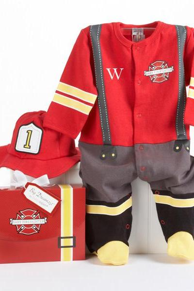 Personalized Baby Firefighter baby boy Two-Piece Layette Set in Firefighter-themed Gift Box Item