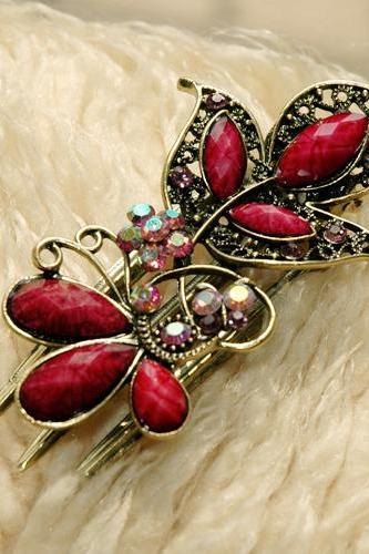 Fuchsia Stones and Rhinestone Butterfly Claw Clips