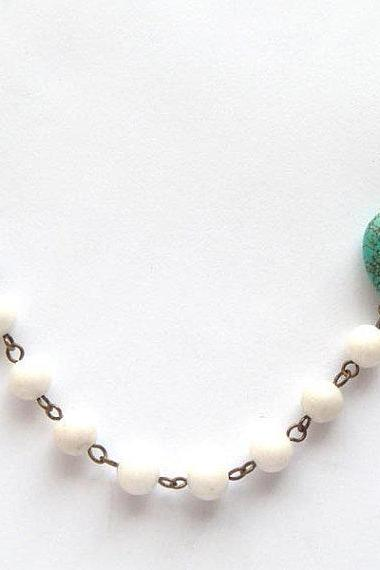 Antiqued Brass White Jade Green Turquoise Necklace