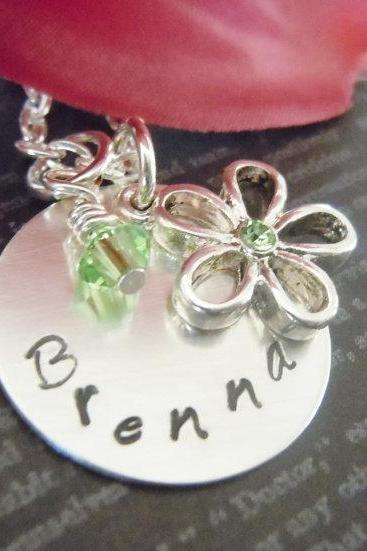Wedding-Flower Girl Necklace-Personalized Necklace-Hand Stamped Jewelry-Childrens Jewelry-Birthstone and Flower Charm