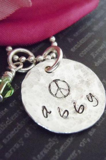 Hand Stamped Necklace-Personalized Jewelry-Name Jewelry-Peace Sign-Sterling Silver-Birthstone