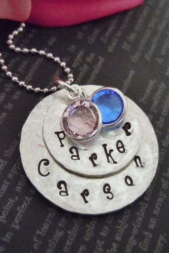 Hand Stamped-Custom Name-Sterling Silver-Mommy Necklace with two Swavorski Crystal Charms
