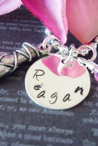 Personalized Jewelry-Hand Stamped Necklace-Mother Necklace-Childrens Jewelry-Ballerina Shoe Charm and Birthstone