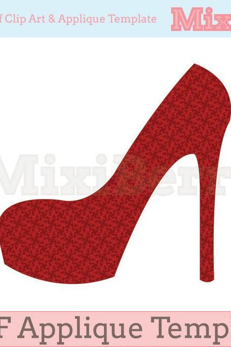 High Heel Applique Template PDF
