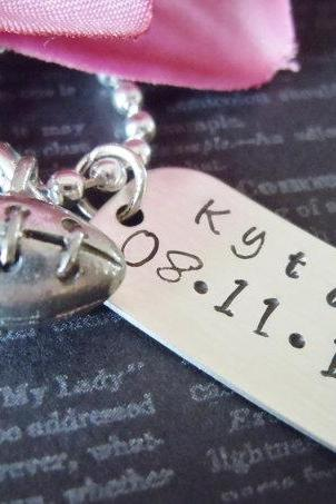 Football Charm-Dog Tag-Child Necklace-Jewelry-Personalized Necklace-Hand Stamped Jewelry