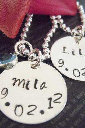 Two Personalized Sister Necklace or Best Friends Necklace-Hand Stamped Jewelry-Pearl