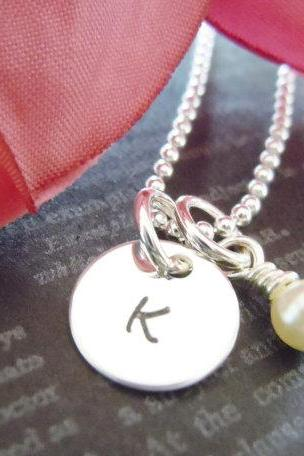 Wedding-Flower Girl Necklace-Initial Charm-Personalized Child Necklace-Wedding Jewelry- Pearl