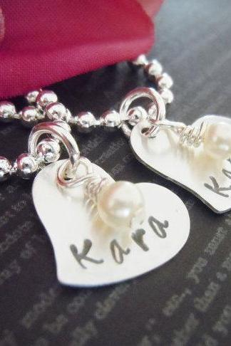 Personalized Flower Girl or Junior Bridesmaid Necklace-Flower Girl Gifts-Hand Stamped Jewelry for Twins-Pearl