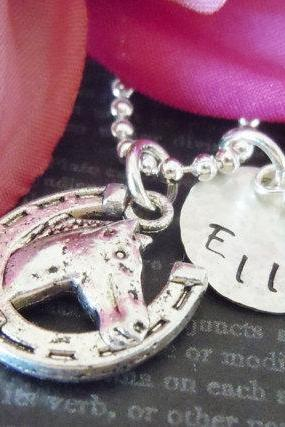 Cowgirl-Hand Stamped Jewelry-Personalized Necklace-Childrens Necklace-Silver-Horse Charm-Swarovski Birthstone Charm