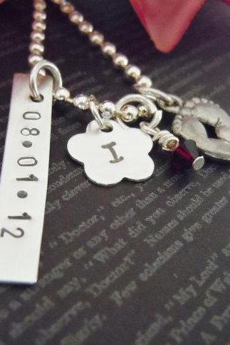 Hand Stamped Jewelry-Mothers Necklace-Personalized Jewelry-Baby Necklace-Baby Feet Charm-Birthstone-Sterling Silver