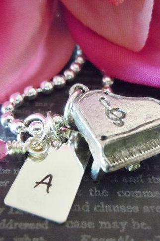 Wedding-Personalized Hand Stamped Jewelry-Piano Player-Childrens Necklace-Single Initial-Sterling Silver-Piano Charm