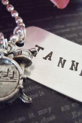 Dog Tag-Personalized Necklace-Hand Stamped Jewelry-Childrens Necklace-Custom Name-Drum Charm