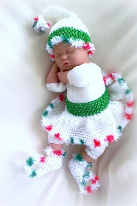 Santa's Little Helper newborn elf skirt, hat and socks set, photo prop