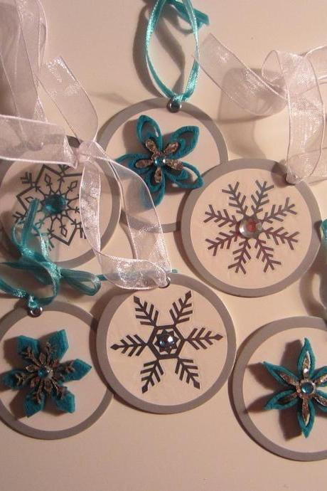 Set of 6 Christmas/Holiday Snowflake Tags