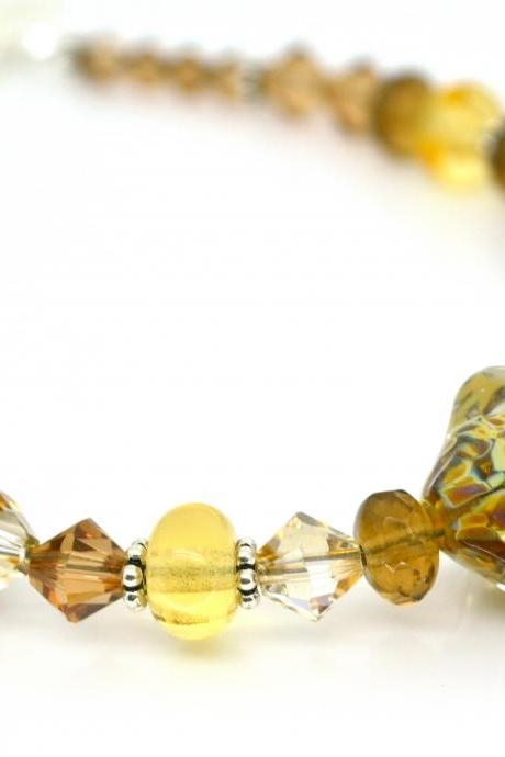 Brown and Yellow Bracelet, Lampwork Bracelet, Sterling Silver, Autumn Jewelry, Free Shipping