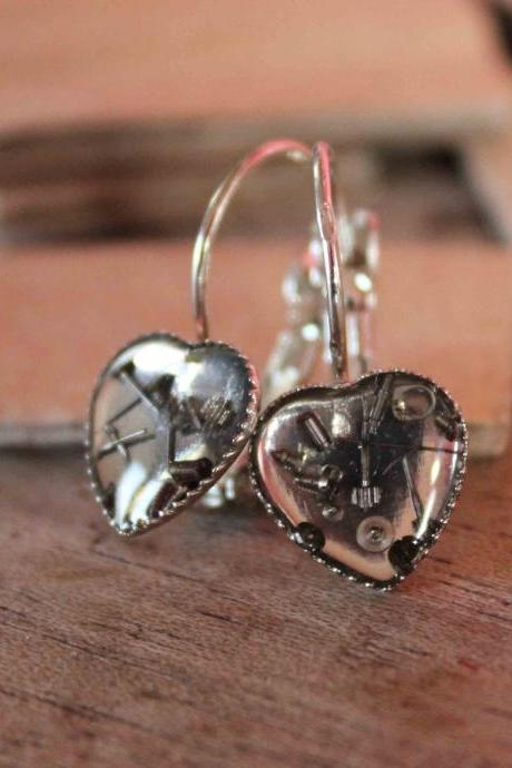 Heart-shaped earrings from vintage watch parts