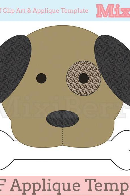 Dog and Bone Applique Template PDF