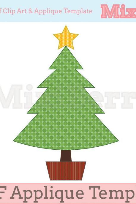 Christmas Tree with Star Applique Template PDF
