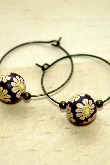 Polymer Clay Beads and Brass Charms Dangle Earring