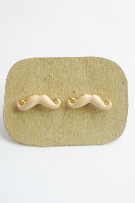 SALE - Tiny Sexy Tan Mustache Post Earrings - 14 mm