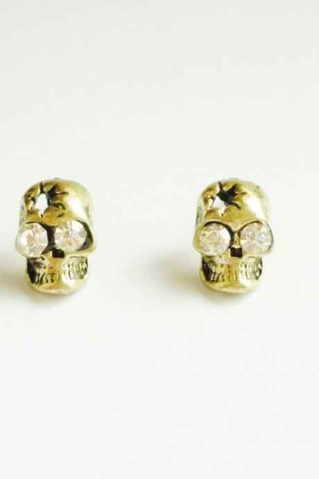 Antique Brass Metal Skull Stud Earrings