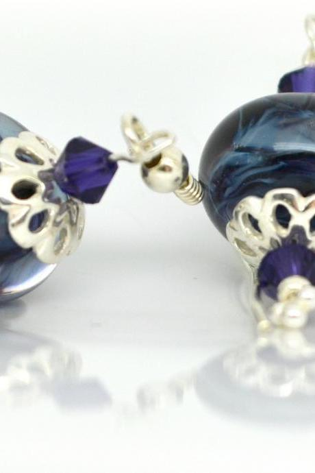 Purple Beaded Earrings Sterling Silver Earrings Lampwork Glass Earrings Swarovski Crystals OOAK, Free Shipping