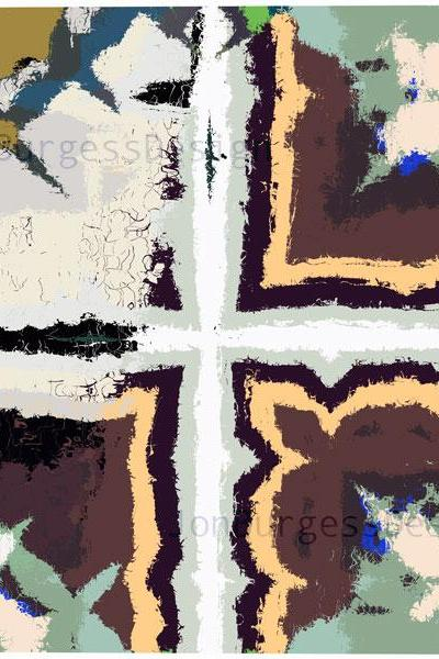 'WhiteCrossBrownGreen' an abstract art print