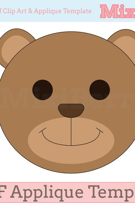 Teddy Bear Applique Template PDF