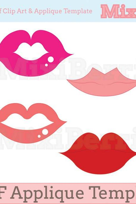 Fabric Applique Template PDF - Sexy Lips 4 Designs