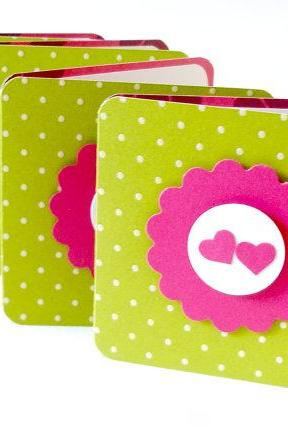 Love mini greeting cards blank mini cards valentines day mini cards Set of 4 with envelopes and seal
