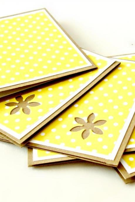 Yellow and white mini polkadot mini note cards Set of 8 handmade mini cards blank mini cards