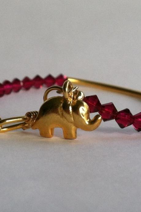 Lucky Elephant Charm Bracelet, Ruby Red and Vermeil Gold Bracelet, Christmas gift idea