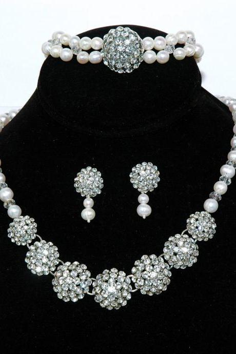 Vintage Style Bridal Necklace Pearl Set - Bridal Rhinestone Necklace Earring