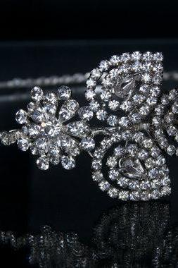 Side Tiara / Wedding Headband / Wedding Tiara - Diamantes/Rhinestone leaf design
