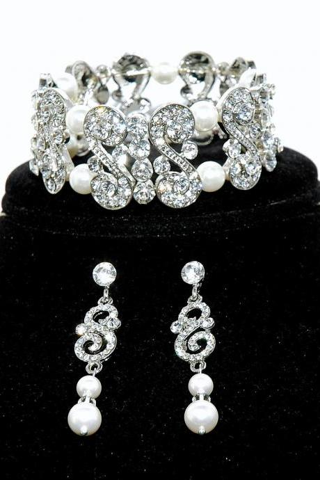 Bridal Bracelet Set - Bridal Rhinestone Earrings - Wedding Pearl J