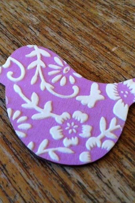 Quirky Bird Brooch in Lilac