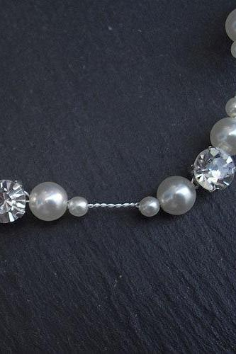 Hair Vine, Bridal Hair Accessories, Wedding, Prom - Pearl and Diamante (Rhinestone)