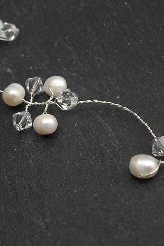 Bridal Hair Vines Silver Pearl and Crystal Hairvine
