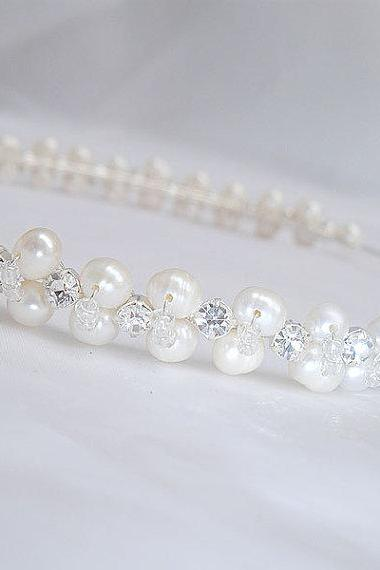Wedding Headband - Rhinestones and FreshWater Pearls - Headbands suitable for Weddings