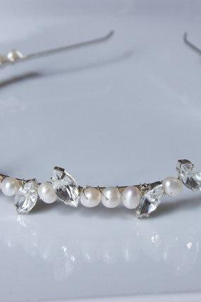 Pearl Headband / Diamante Stones and Freshwater Pearls, Wedding Hair Accessories