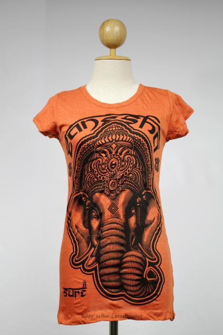 Ganesha T-shirt Hindu God Namaste Buddha Orange S M L XL Elephant