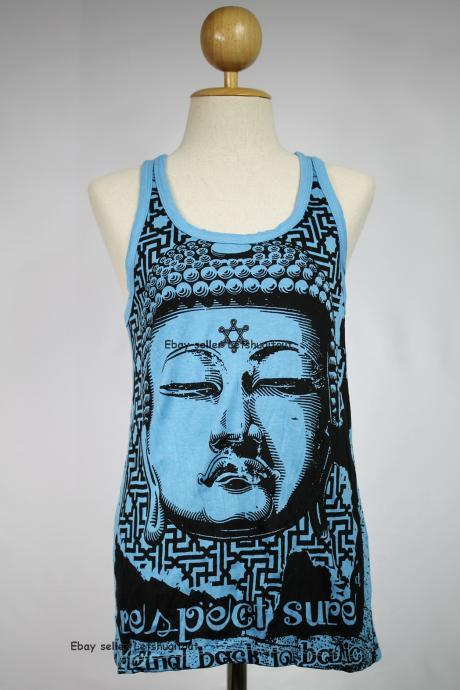 Buddha Tank Top Yoga Singlet Blue Hindu God Crinkle Cotton S M L XL