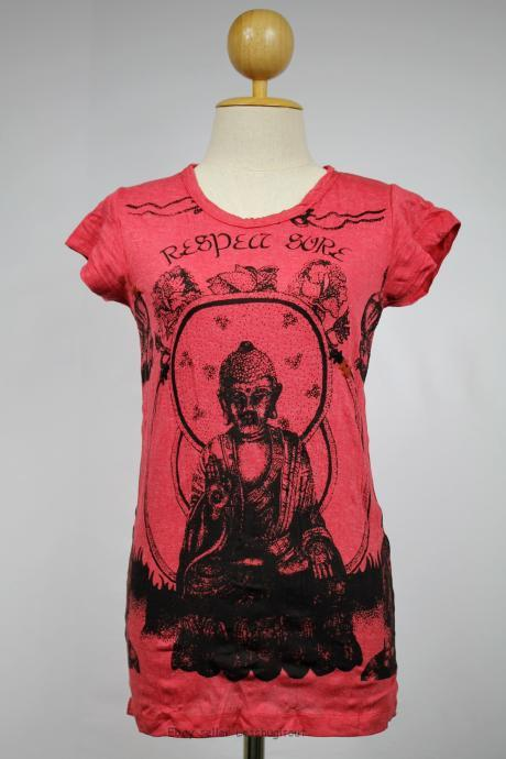Buddha T-shirt Crinkle Cotton Yoga Outfit Hindu God Red S M L XL