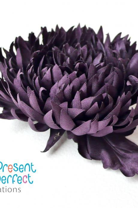Purple flower corsage, silk aster brooch, purple brooch