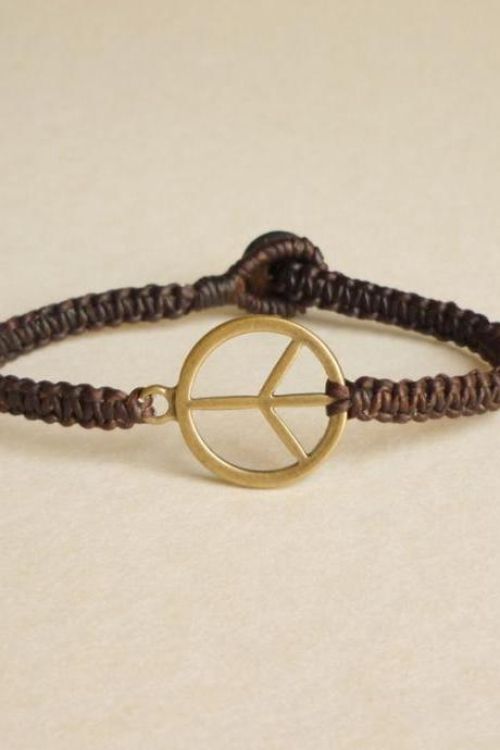 Peace Me again - Antique Brass Peace Charm woven with Dark Brown Wax Cord Bracelet - Gift under 15