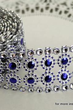 Two yards of faux Rhinestone and Blossom Trim - Blue Violet and Diamonds