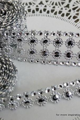 Two yards of faux Rhinestone and Blossom Trim - Silver and Diamonds