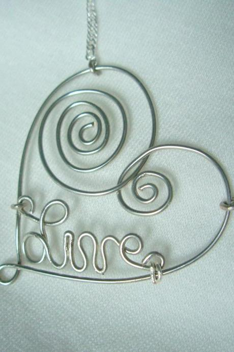 'Live' Wire Wrap Necklace Silver Swirl Scroll Custom