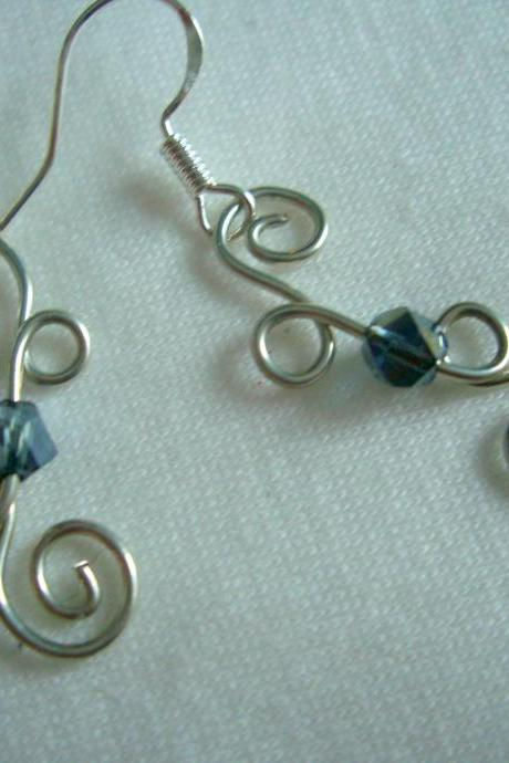 Denim Swarovski Earrings Wire Wrap Scroll Loop Blue Sterling Silver