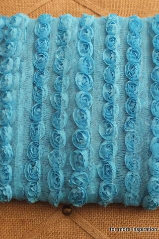 3 feet of Mini Shabby Chic Flower trim - Ocean Breeze (Turquoise)